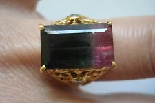 Vtg lg 14k gold Diamond Watermelon Bi-Color Tourmaline Filigree Ring Sz7~Free Sh