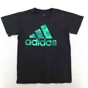 Adidas Shirt Adult Small Black Logo Spellout Mens E10_38