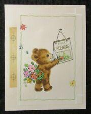 """CUTE TEDDY BEAR w/ Flowers & Calendar 6x7.5"""" Greeting Card Art #8393"""