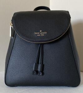 New Kate Spade Leila Leather Medium Flap Backpack Black