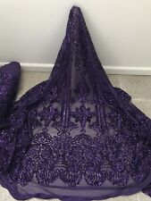 "PRUPLE STRETCH MESH W/PURPLE SEQUIN EMBROIDERY LACE FABRIC 52"" WIDE 1 YARD"