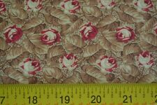 By 1/2 Yd, Red Tan & Brown Floral Quilting Cotton, Baum Textiles, N364