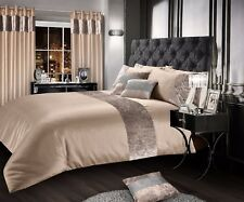 Luxurious Crushed Velvet Faux Silk Duvet Cover Plush Glam Mink Bedding Champaign King Natural