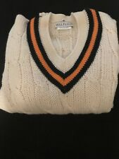 White and Black/yellow Stripe Hill Flint Pull Over Sweater