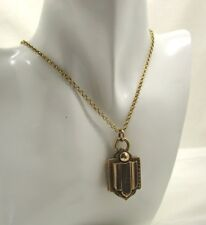 Victorian C 1880's Unusual Style Gold back And Front Locket And Chain