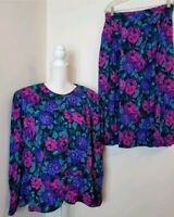 Vtg PLUS Lanz II 2 Piece Floral Skirt Set PLUS SIZE 22