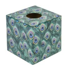 Green Peacock Tissue Box Cover wood handmade Unique gift
