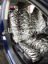 i - SEMI FIT A MINI COOPER CAR, FRONT SEAT COVERS, SILVER TIGER FAUX FUR