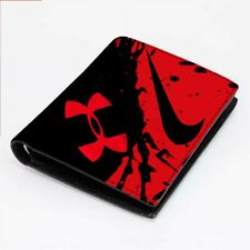 UNDER ARMOUR RED ICON Men's Wallet Black Leather Custom Money & Card Holder