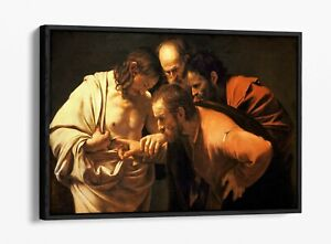 CARAVAGGIO, INCREDULITY OF SAINT THOMAS -FLOATER EFFECT FRAMED CANVAS ART PRINT