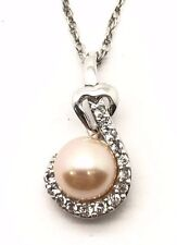 Sterling Silver 925 Round Whiter Pearl CZ Cluster Heart Bail Necklace 18''