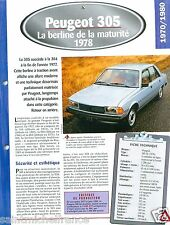 Peugeot 305 GL Pininfarina  4 Cyl. 1978 France Car Auto Retro FICHE FRANCE