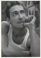 Handsome young muscular man beefcake affectionate jock Russian adv. postcard gay