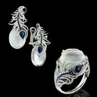 Earrings Dangle Women Sapphire Silver Jewelry Moonstone&Blue Ear Gift Prom