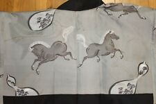 Vintage Japanese Mens Smooth Silk Horse Liner Haori FREE SHIPPING