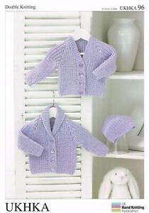 "UKHKA 96 Baby Cardigan & Hat Knitting Pattern In DK - 12-20"" (31-51cm)"