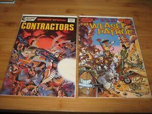 Weasel Patrol #1 + Contractors #1 VF/NM Never Read Bag n Board Eclipse