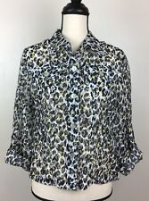 Ruby Rd. Button Front Shirt Size 10 Black Yellow Animal Print Semi Sheer Tab Slv
