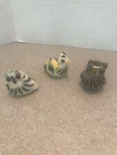 Vtg Tonala 2 OWLS 1 Bird Mexican Pottery Folk Art Hand Painted Mexico