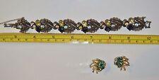 CORO Blue & Cistrine Rhinestone Leaf Bracelet & Earrings Vintage Signed cir 1955