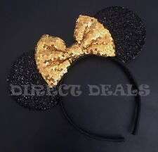 Minnie Mouse Ears Headband Shiny Black Sparkly Gold Bow Birthday Fit Adult Kids