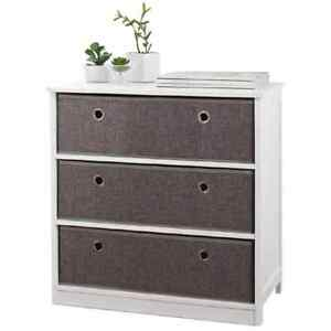 Easy Link Wide 3 Drawer Chest Wooden White Bedroom/Living Room Easy Assembly