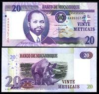 MOZAMBIQUE 20 METICAIS 2006 P 143 AG PREFIX UNC
