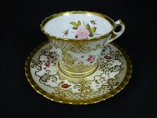 Early 1800's CHAMBERLAINS WORCESTER Cup & Saucer - Elegant Gilting w/ Flowers