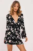 In The Style Bronagh Black Floral Plunge Mini Dress UK Size 10 TD091 OO 12