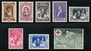 Belgium 1939 MNH Mi 497-504 Sc B233-B240 Red Cross Society,medical,nurse,queen