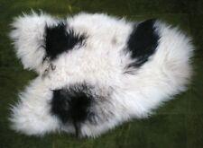 100% genuine Icelandic Alfombra de piel de oveja raza rara Negro Marfil #ICE01