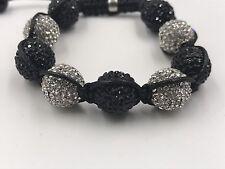 12mm Shamballa Beaded Adjustable Bracelet Genuine Black/ White Hand Set Crystals