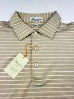 Peter Millar Summer Comfort Performance Polo Shirt Stripe Beige White