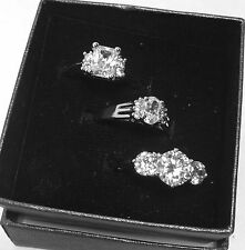 BRAND NEW QVC SET OF 3 RINGS FANCY BRILLIANT CUT SIZE 7 SIMULATED STONES