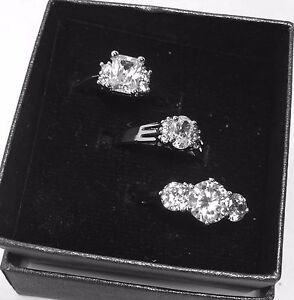 QVC SET OF 3 RINGS SIZE:6 FANCY BRILLIANT CUT SIMULATED STONES BRAND NEW