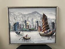 Vtg Original Oil Painting HONG KONG HARBOR By John Ho