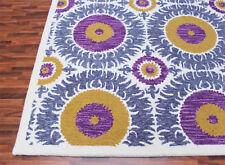Suzani 5' x 8' White Contemporary Handmade Tufted Loop 100% Woolen Rug & Carpet