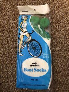 vintage soft creslan 80% acrylic pom pom sport socks NOS NIP plush sexy sz 6-8.5