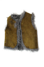Bonpoint Childrens Girls Curly Lambskin Open Front Vest Brown Gray Size 4 France