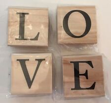 Rubber Stamps Set LOVE Wood Mounted New in Package Lot of 4 Anniversary