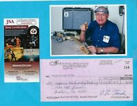 Leo Fender G&L 1980 Autographed Signed Business Check & HP Photo JSA COA