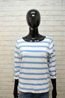 Maglia a Righe Donna RALPH LAUREN Taglia L Maglietta Manica 3/4 Blu Bianco Shirt
