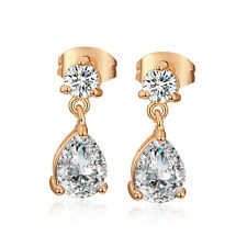 Drop Teardrop Crystal Womens Dangle Small Ear Stud Earrings Yellow Gold Plated