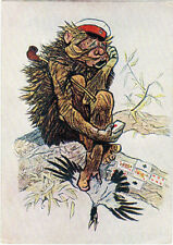 1957 Russian postcard MONKEY PLAYS SOLITAIRE drawing by E.Rachev to fairy tale