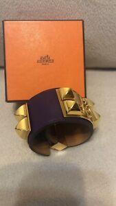 New Authentic HERMES CDC Collier de Chien Violet Purple GHW Gold hardware