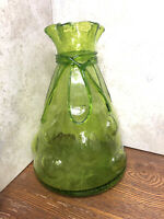 """Vintage Hand blown Art Glass Green Controlled Bubbles Sack Vase With Bow 10"""" H"""