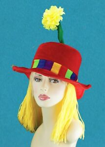 Clown Hat with Flower and Hair Clown Costume Hats