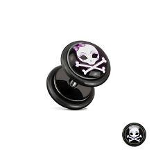Fake Plug Flesh Tunnel Ear Piercing Motive Stainless Steel Earrings Studs Girls' Skull