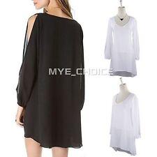 Chiffon V-Neck Patternless Long Sleeve Dresses for Women