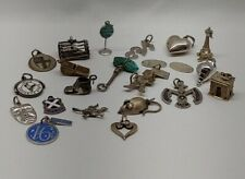 Lot Of 22 Vintage 925 Sterling Silver Charms Lobster Cage Turquoise Mouse.